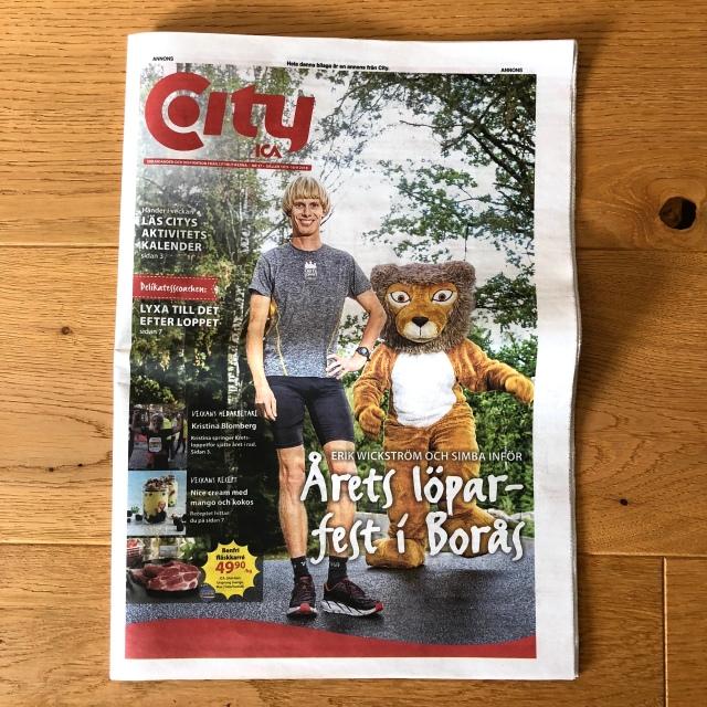 Citybilagan i Borås Tidning. Omslag. Med maskoten Simba från Borås Djurpark.
