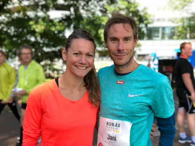 Lina Blomqvist och Jani Lassila före start