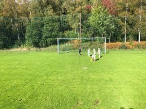 Jag gick via fårhagen ned till Sjömarkens fotbollsplaner med fyra barn idag medan Ida tog en promenad. Mina innerskruvade frisparkar håller fortfarande någorlunda måttet.
