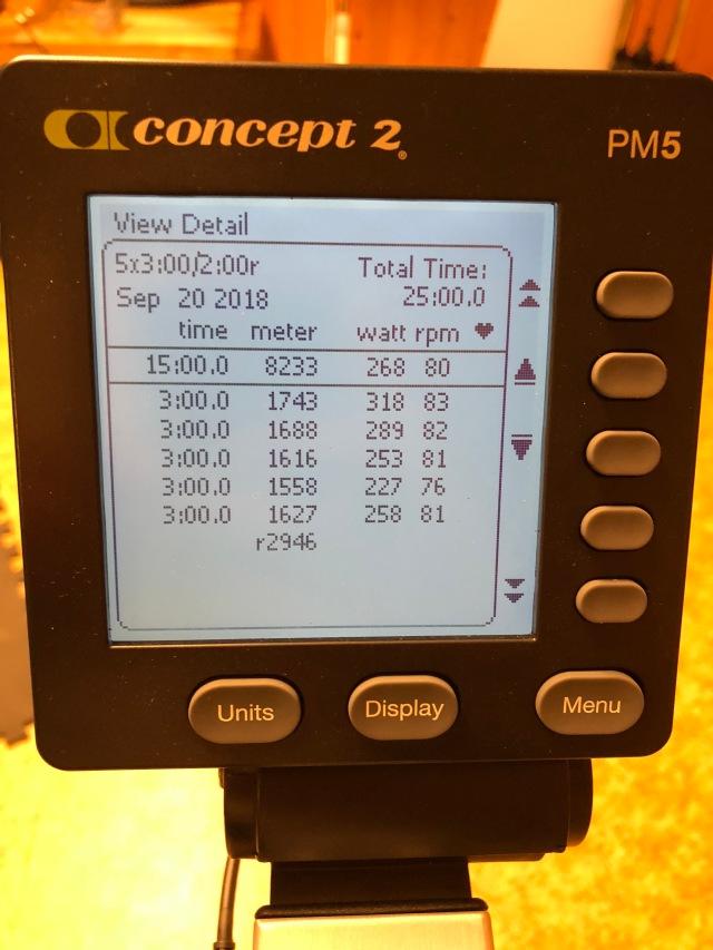 Tobias BikeErg 5 st 3 min med 2 min vila 20 sep. 268 watt i snitt.