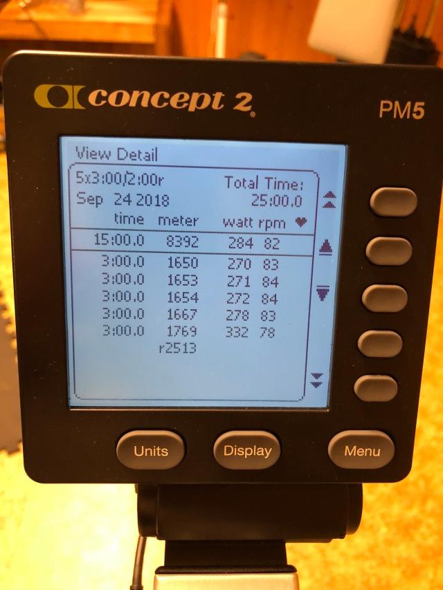 Tobias BikeErg 5 st 3 min med 2 min vila 24 sep. 284 watt i snitt.