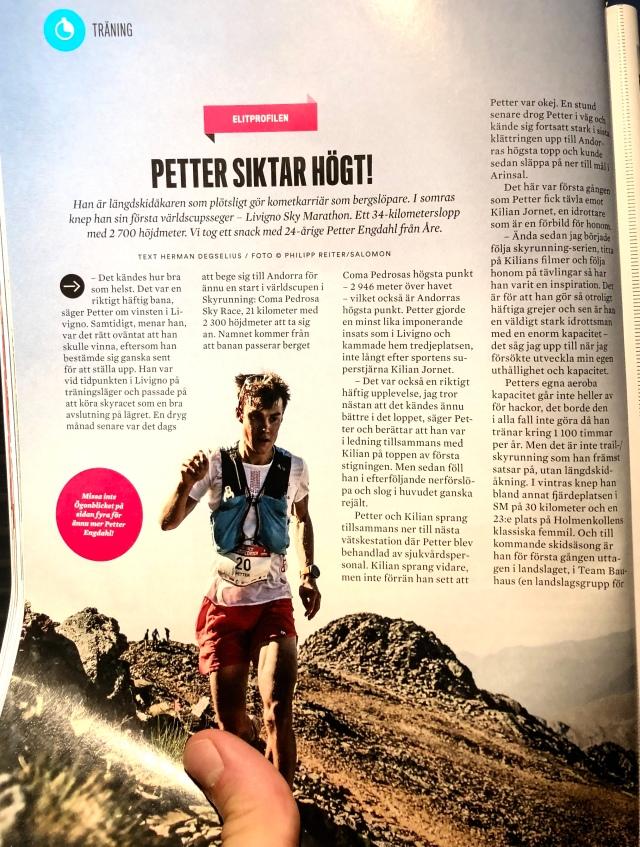 Petter Engdahl i Runners World september 2018. Om hans löpning, träning etc.