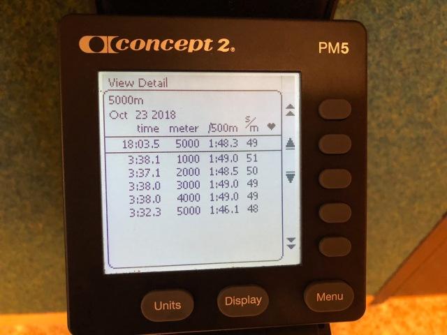 5000 m SkiErg på 18.03 min. Display SkiErg stakmaskin.
