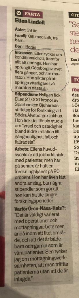 Ellen Lindell i Borås Tidning 16 december 2018