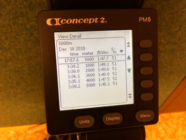 5000 m SkiErg på 17.57 min