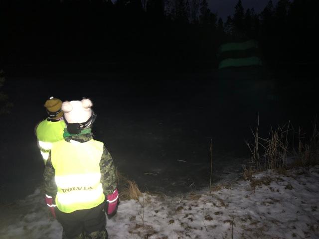 Jag cyklade och gick till Långatjärn mellan Sjömarken och Sandared med Astrid och hennes kusin Judit för att kolla isen. Den höll, men jag var inte så sugen på att dra ut andras barn där eftersom den inte var så tjock.