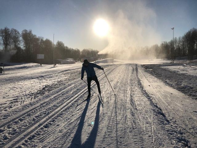 Skidlektion på Borås skidstadion med en kille som testade skejt för första gången. I början såg det inte jättelovande ut, men i slutet hade han med intensiv teknikträning fått ordning på växlarna, om än fortfarande lite kantigt.