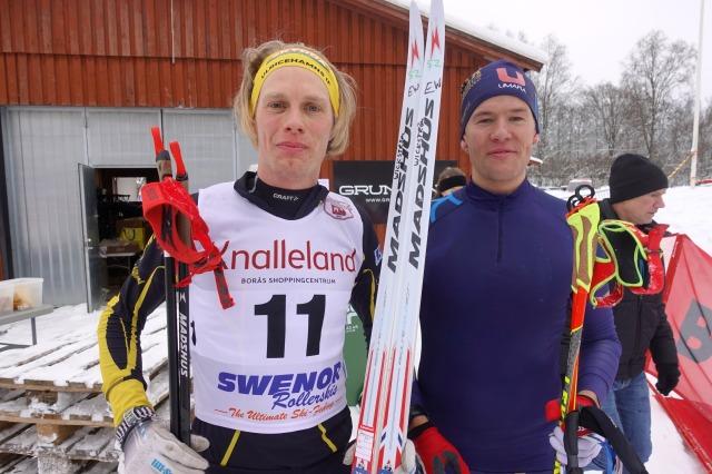 Joakim Lindberg, eller Kanot-Jocke, och jag efter Borås Ski Maraton 2019