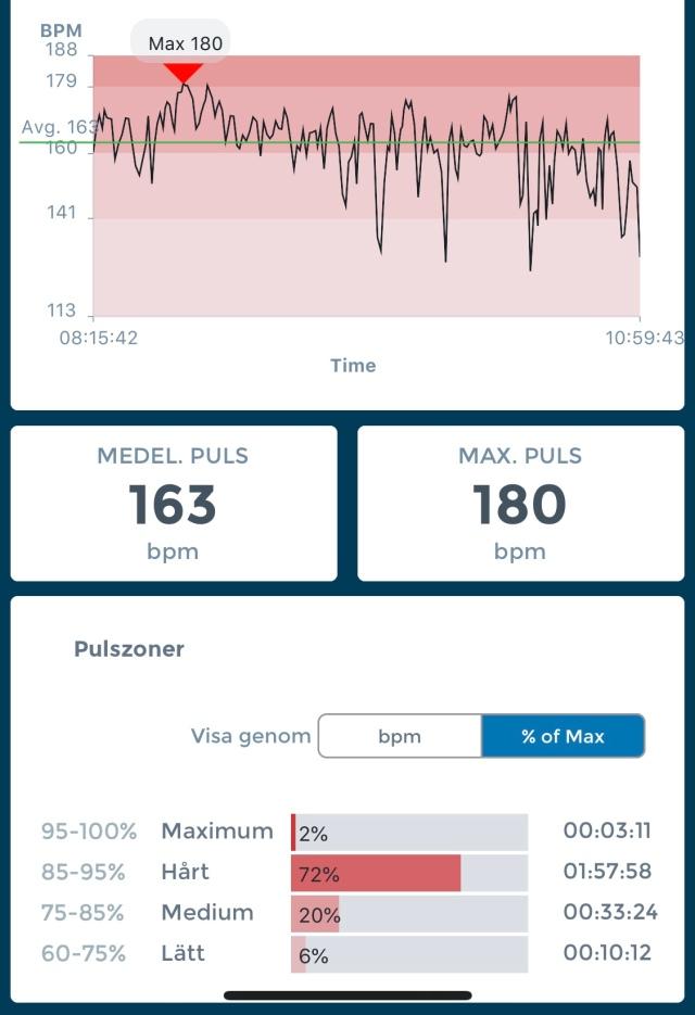Pulskurva Holmenkollmarjsen. 87 procent i snitt och 96 procent i max (räknar 188 som maxpuls).