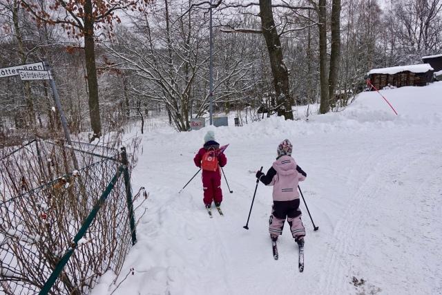 """I torsdag åkte jag och barnen längdskidor från ytterdörren till skogen 250 meter bort. I ryggsäcken hade jag Astrids snowboard, så vi åkte till en slänt där hon åkte upp och ner. Så otroligt fint att se hur hon kämpar, har kul och till slut klarar längre och längre """"backar""""."""