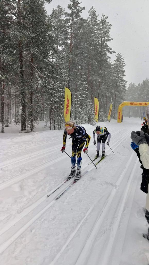 Jag före Britta Johansson Norgren i Läde i Vasaloppet 2019. Foto: Hanna Kumlin.