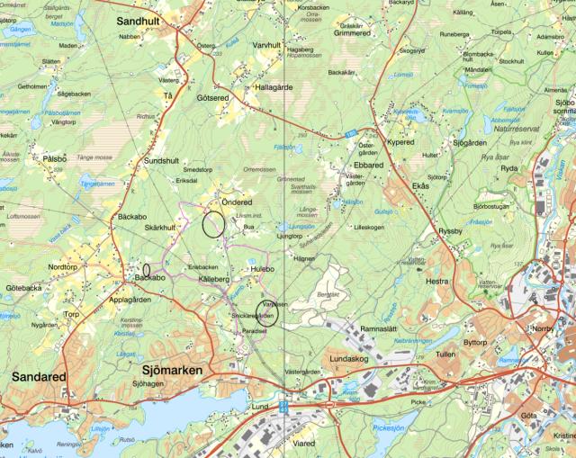 Här är ett av mina förslag på ett milspår i Sjömarken. På sträckorna med svart ring behövs nya stigar.