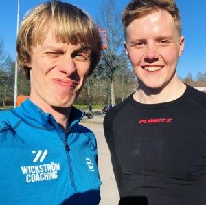Love Ljungström och jag utanför Ryavallen efter avslutad löptur