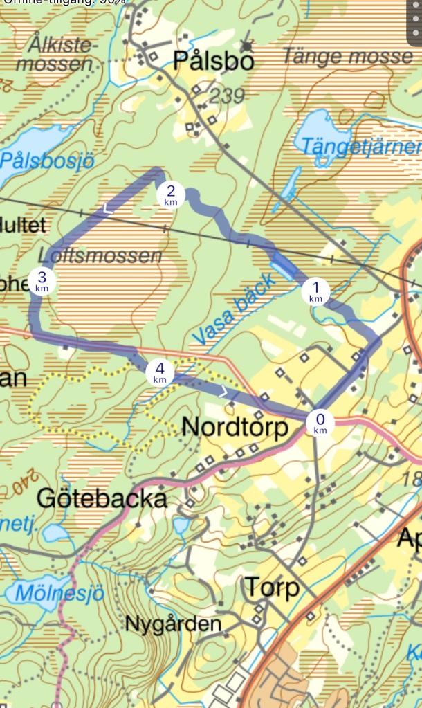 Nordtorps 5 km-spår för löpning/vandring med Top GPS. Tyvärr var det inte GPS-täckning överallt, vilket syns där strecket är helt rakt.
