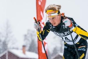 Erik Wickström Vasaloppet 2019 med snöskärm. Foto: Magnus Östh.