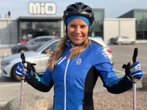 Anna-Karin Lillevars efter avslutad rullskidlektion på Viared