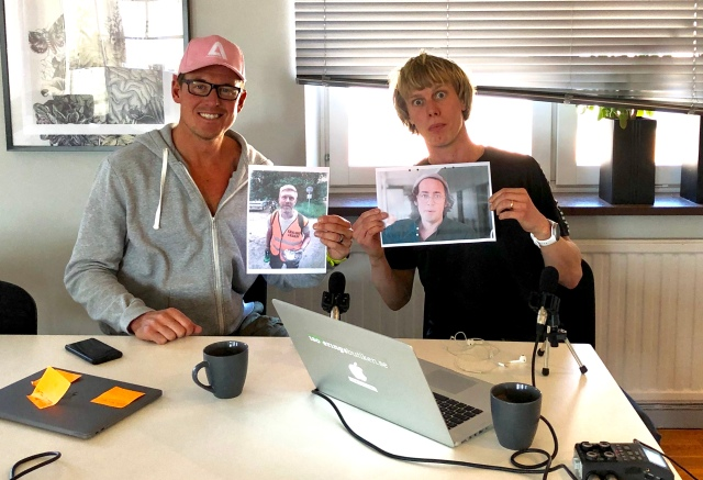 Jonas Colting och jag på Brainforest för inspelning av Lagom Kondition