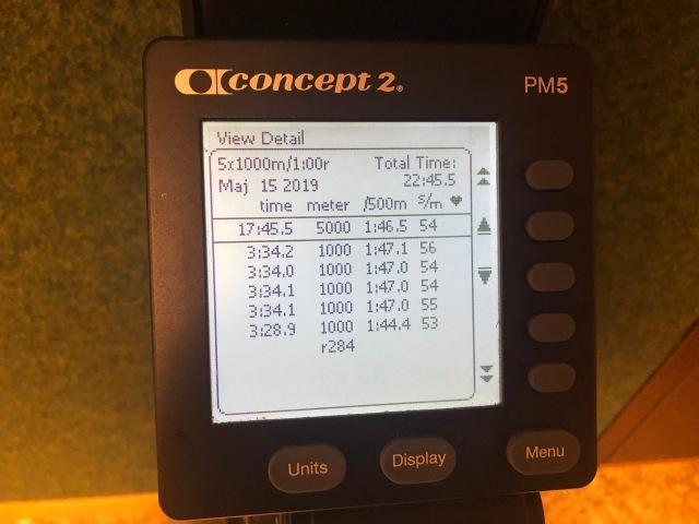 5 st 1000 m-intervaller med 1 min vila på SkiErg. Motstånd 8.