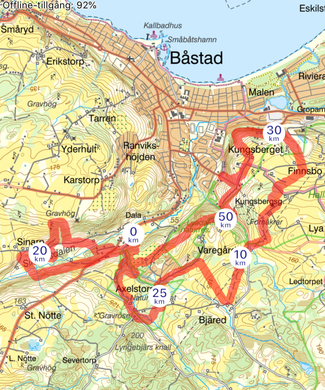 Karta Bjäre Trail 2019. Tre varv på denna 17 km-bana.