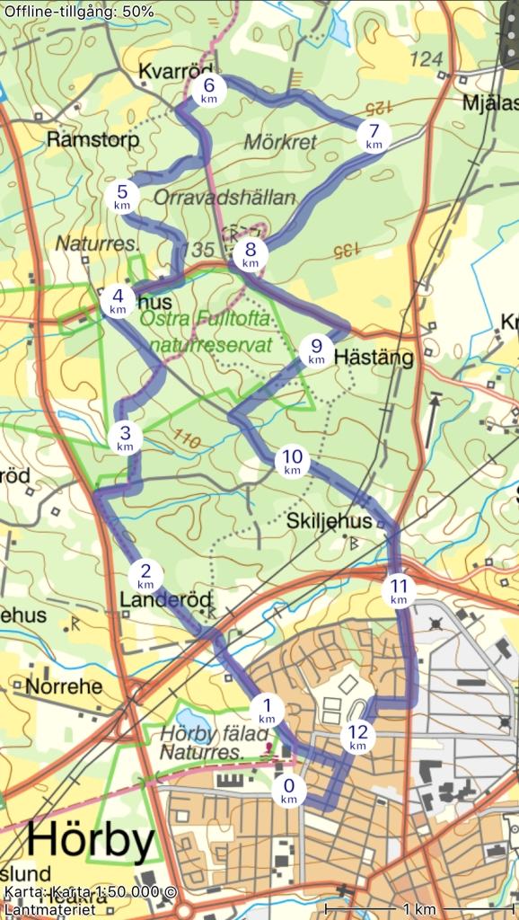 Karta Hörby Marknadslopp. Mest ganska flacka grusvägar, men också några kilometer med asfalt och några med stig.