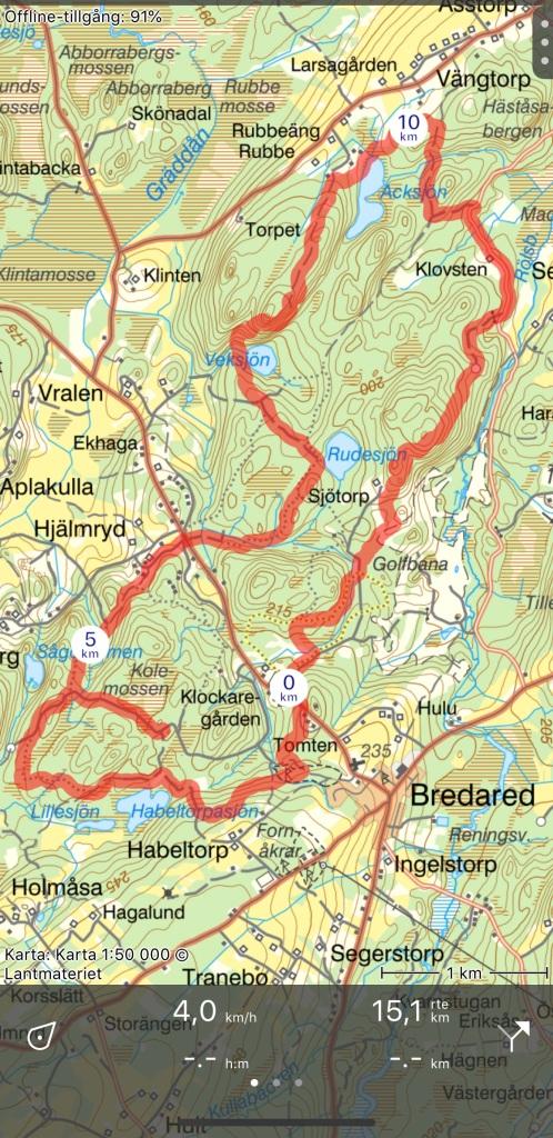 Bredareds 14 km-spår med lite felspringning strax före 5 km