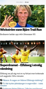 Även Borås Tidning uppmärksammade seger i Bjäre Trail Run i lördags