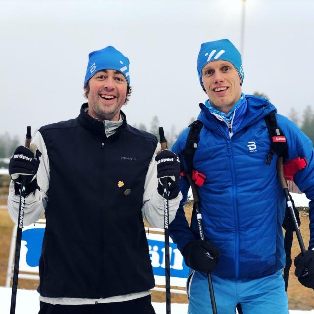 Niklas Bergh och Erik Wickström från podcasten Lagom Kondition. På Idre Fjäll på konstsnö i oktober 2019.