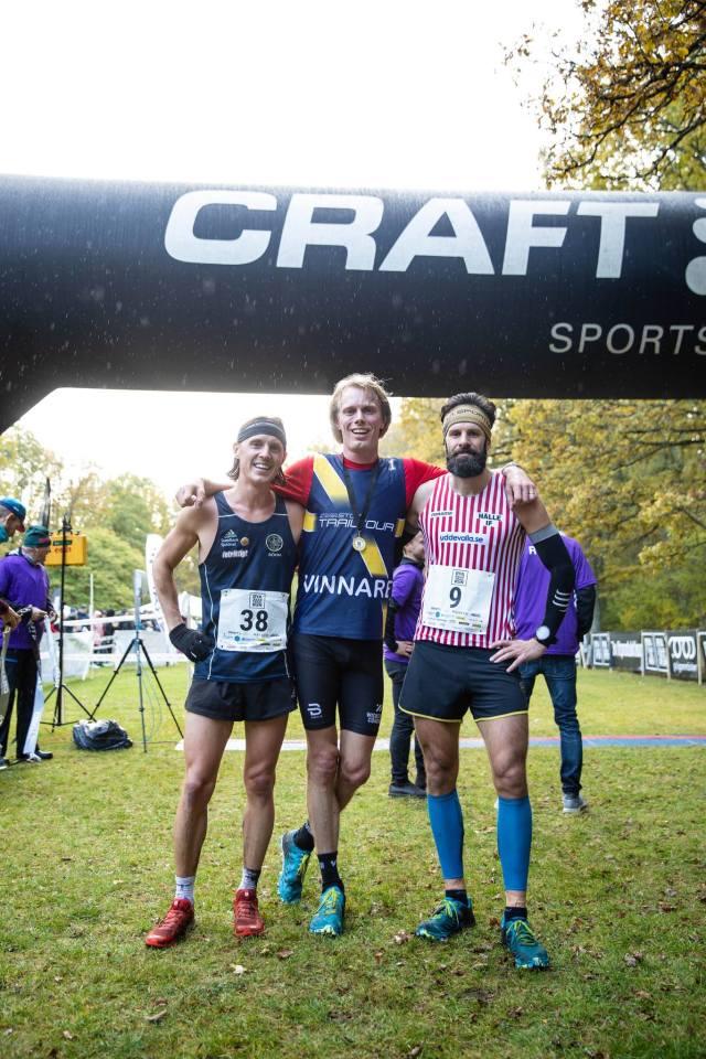 Jakob Böhm, Erik Wickström och Patrik Lindegårdh efter Rya Åsar Trail Run 2019. Foto: Masaya.
