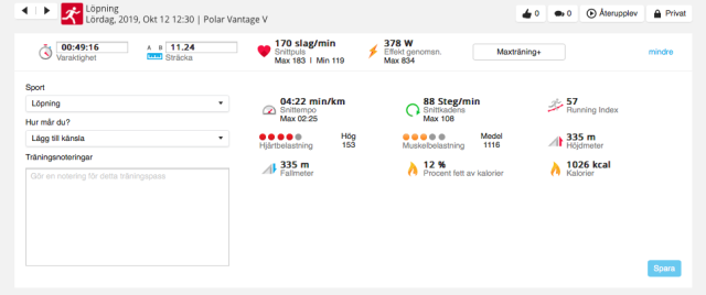 Puls, totalstigning, stegfrekvens, distans, snittfart etc Rya Åsar Trail Run 2019