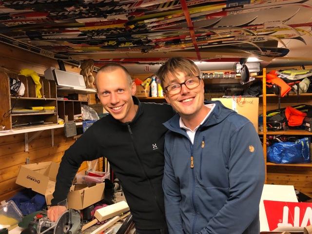 Martin Josefsson och Erik Thiberg i vårt garage