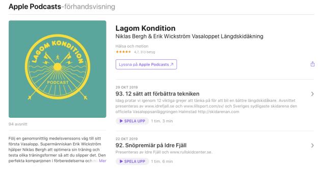 Senaste avsnitten av podcasten Lagom Kondition