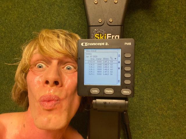 5000 m SkiErg på 17.52 min på motstånd 8. Perset är på 17.24 min på motstånd 10.