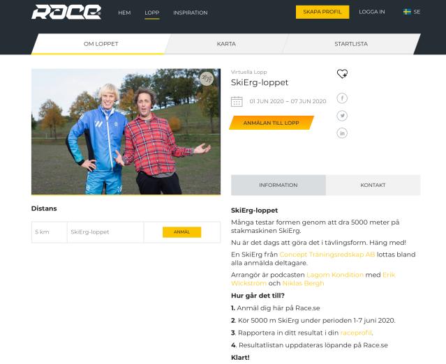 SkiErg-loppet på Race.se
