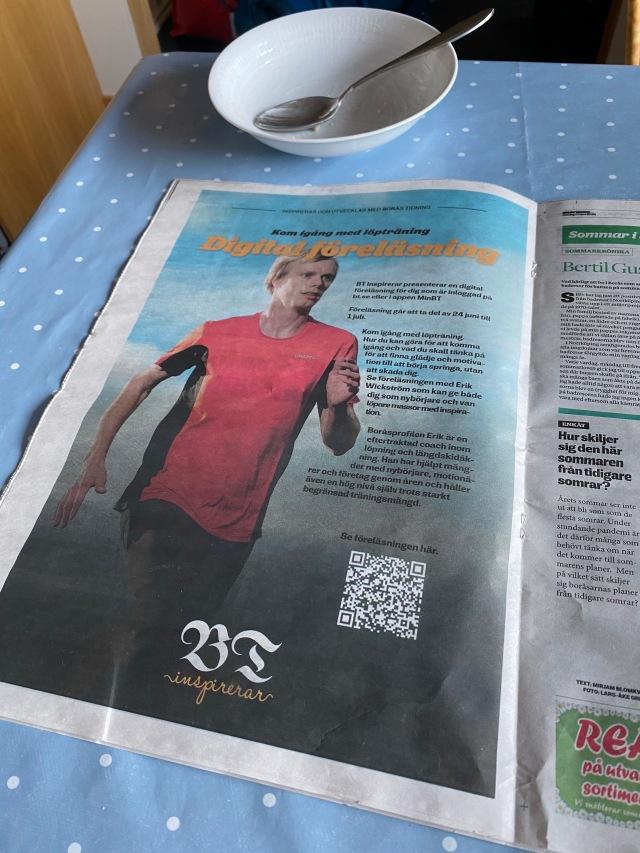 BT Inspirerar. Föreläsning på Borås Tidning om att komma igång med löpträning. Helsidesannons i Borås Tidning.