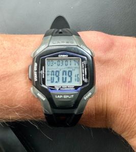 Min Casio från 2001 kommer väl till pass när pulsklockan behöver service.