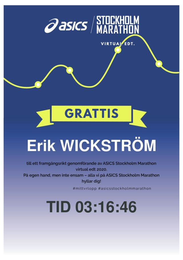 Asics Stockholm Marathon Virtual Edition diplom