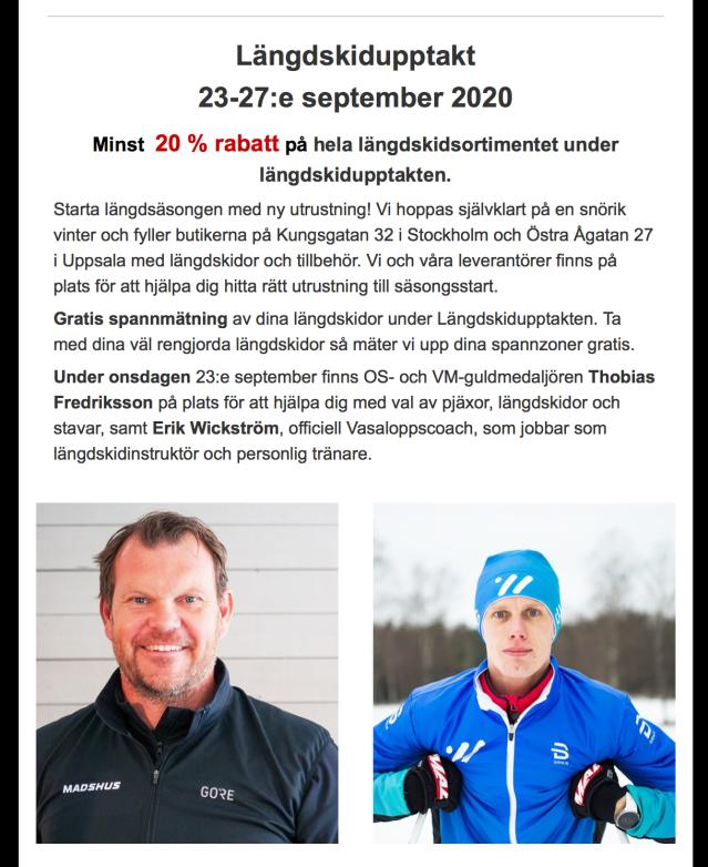 Längdskidupptakt på Alewalds i Stockholm med en OS-guldmedaljör och en med några framskjutna placeringar på Boråsmästerskapen.
