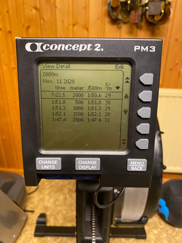 2000 m rodd efter löpband och SkiErg