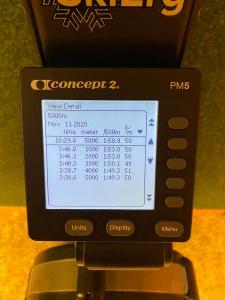 5000 m SkiErg efter 5 km löpband