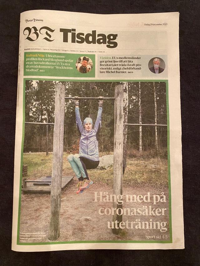 Borås Tidningen 29 dec 2020. Förstasidan i andra delen.
