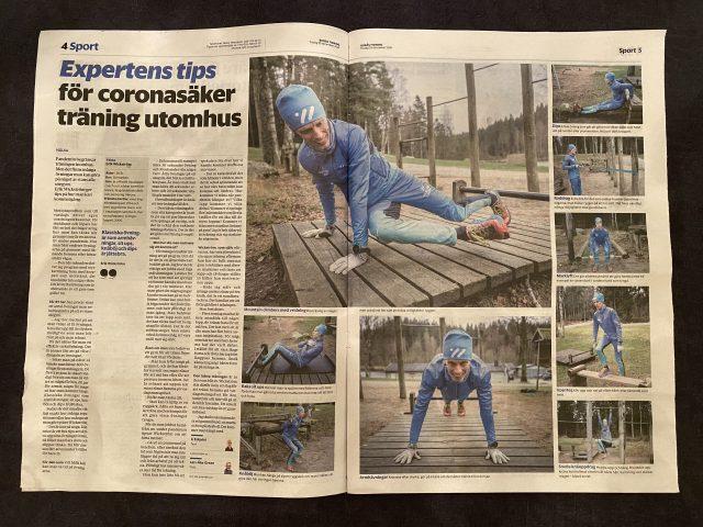 Övningar för utegym i Borås Tidning 29 dec 2020