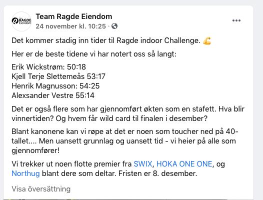 Team Ragde indoor challenge