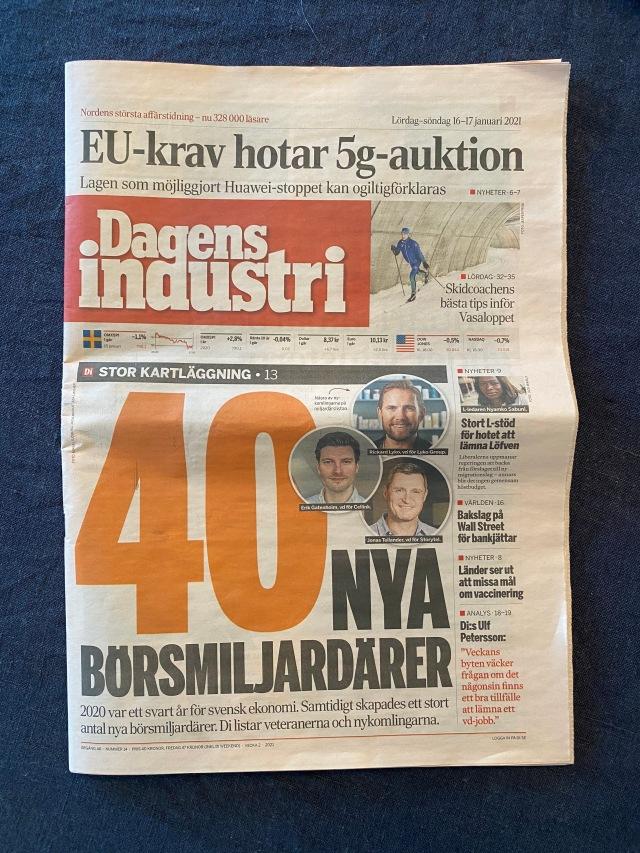 Förstasidan Dagens industri. Omslag.