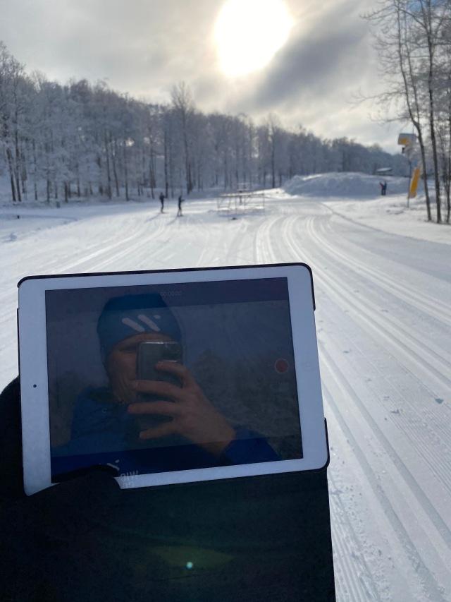 Skidlektion med filmning på Borås skidstadion