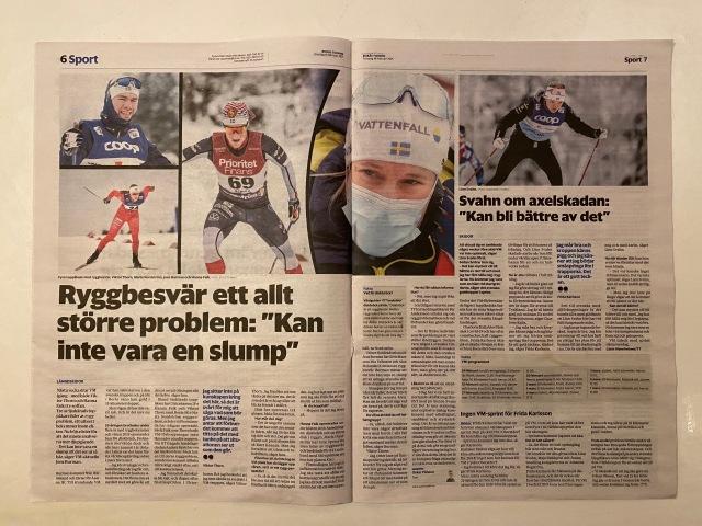 Ryggont bland skidåkare i Borås Tidning 18 feb 2021