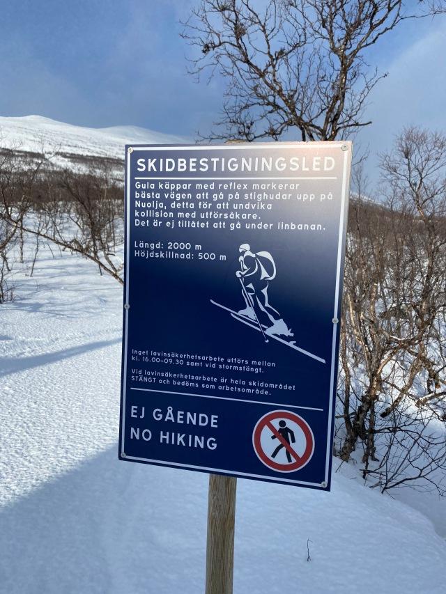 Skidbestigningsled vid Nuolja offpist mellan Abisko och Björkliden