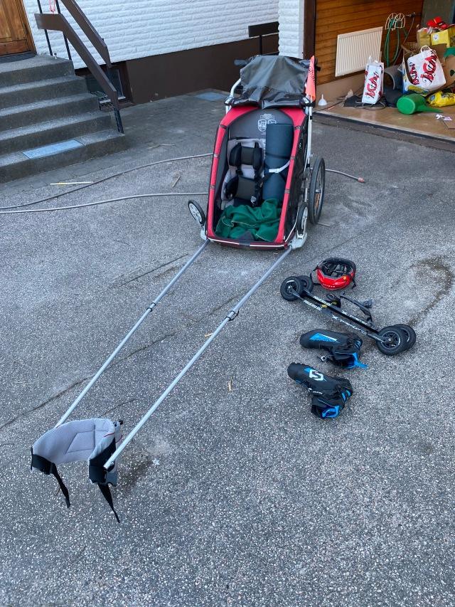 Chariot och rullskidor med broms