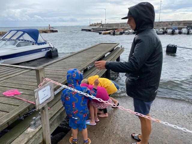 Barnen är besatta av krabbfiske. Stark vind och regn är inget som leder till minskat intresse.